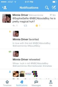 Recent Tweet Favorited by Minnie