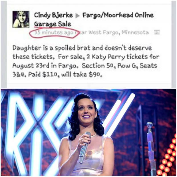 Mom sells Katy Perry tickets on fb