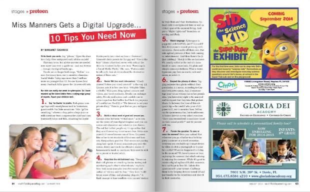 Featured in Aug Issue of South Florida Parenting Magazine ~ Pg. 64