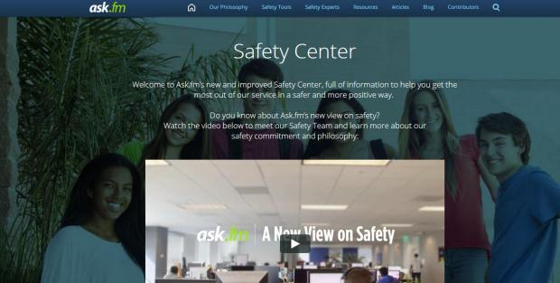 Ask.fm Safety Center Screenshot